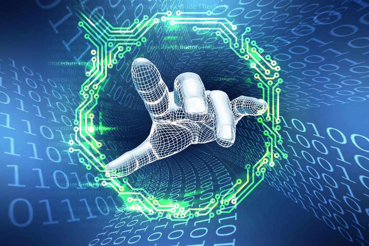 high tech modern machine hand information technology creative