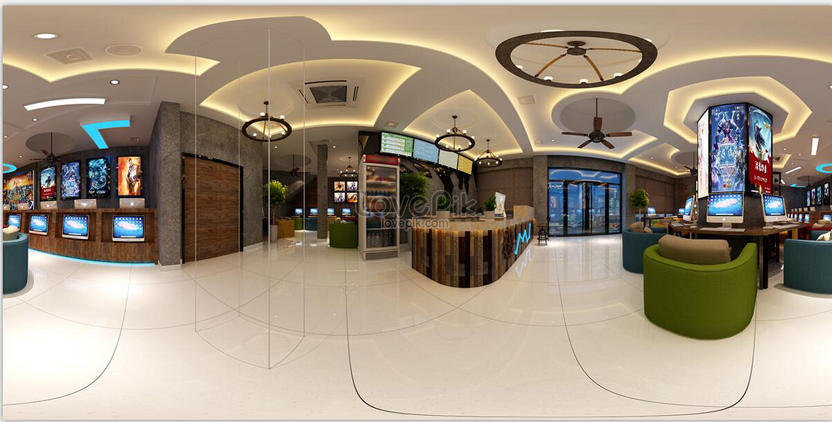 Internet cafe interior design renderings photo image ...