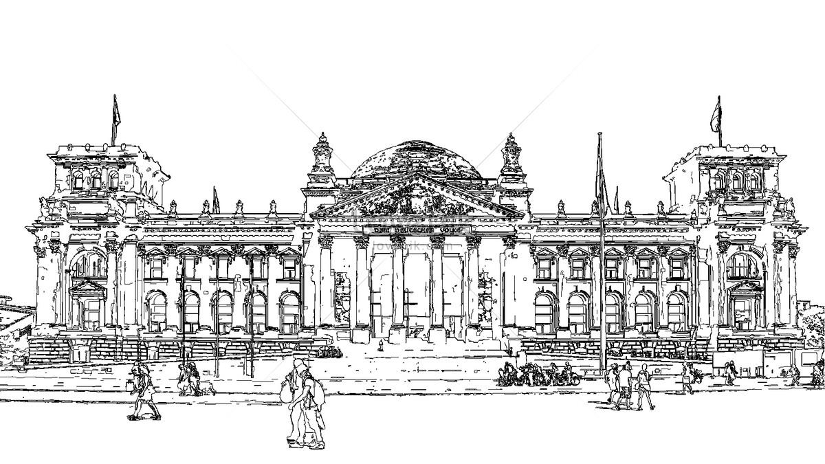 Sketsa Gambar Arsitektur Jerman Yang Terkenal Gambar Unduh Gratis