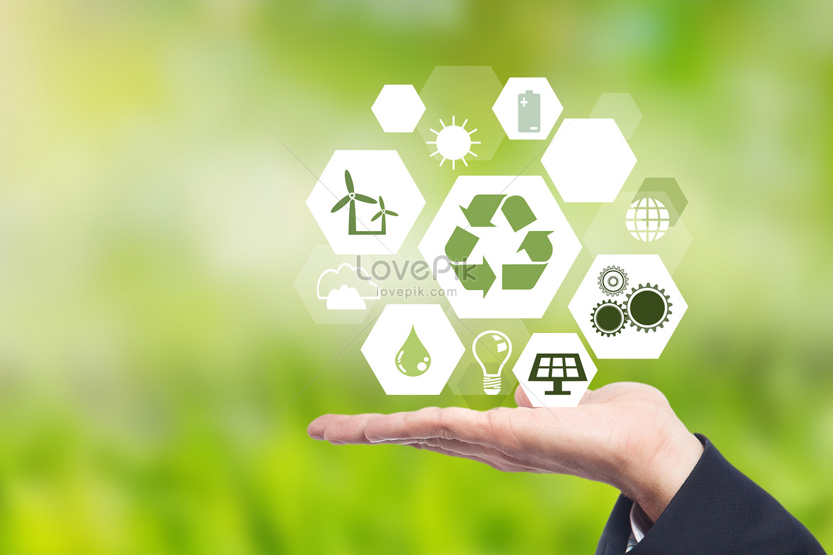 Hand Holding Different Green Energy Symbols Creative Imagepicture