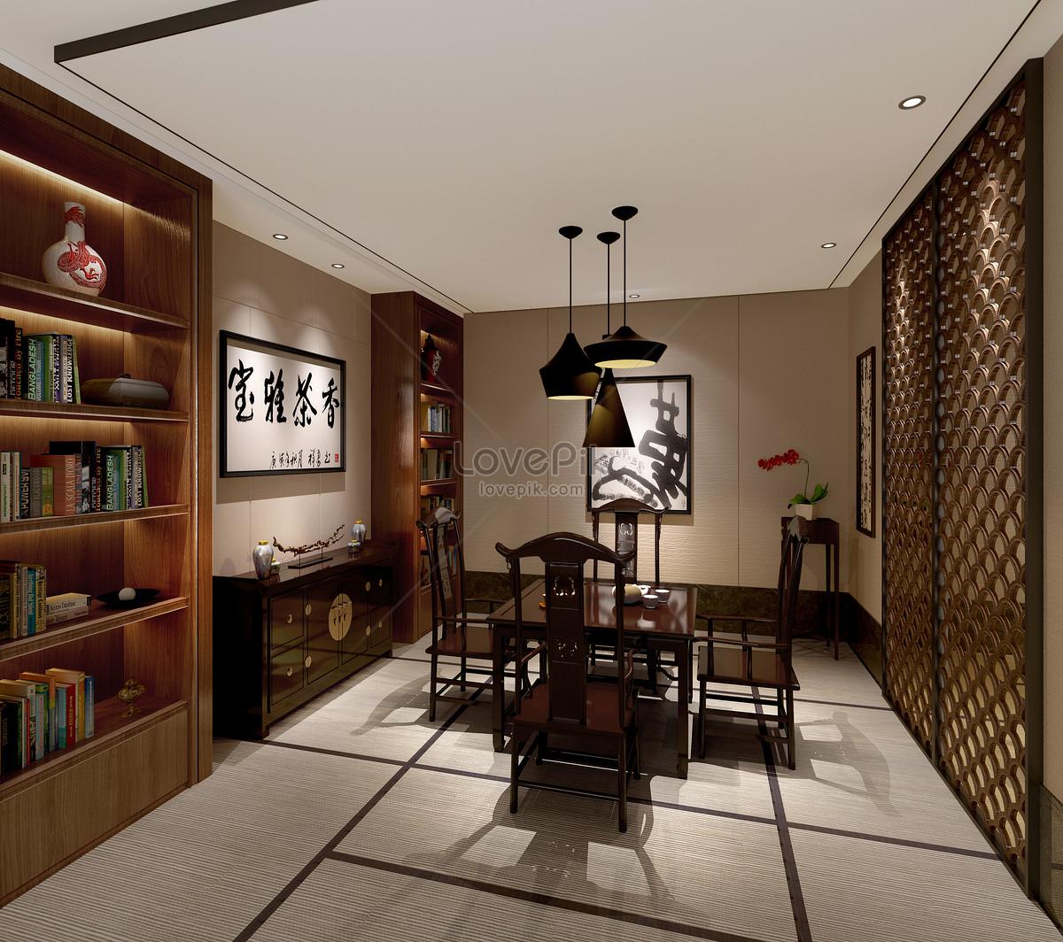 Traditional Interior Design By Ownby: 중국 전통 서재 인테리어 디자인 렌더링 이미지 _사진 500502930 무료 다운로드_lovepik.com