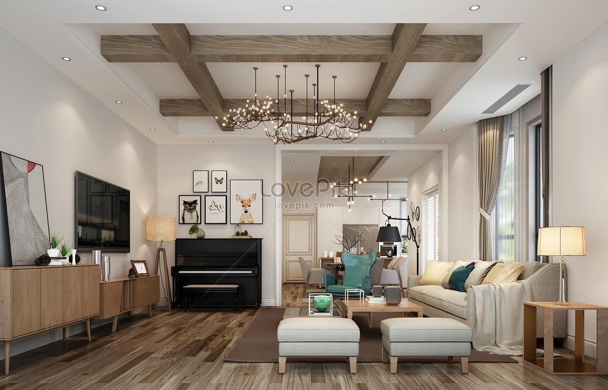 North European Log Modern Simple Living Room Interior Design Eff Photo Image Picture Free