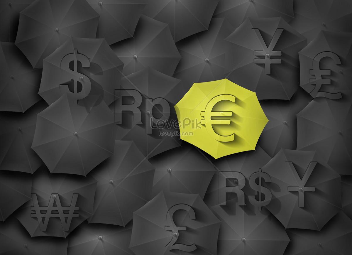 The Monetary Symbol On The Umbrella Creative Imagepicture Free