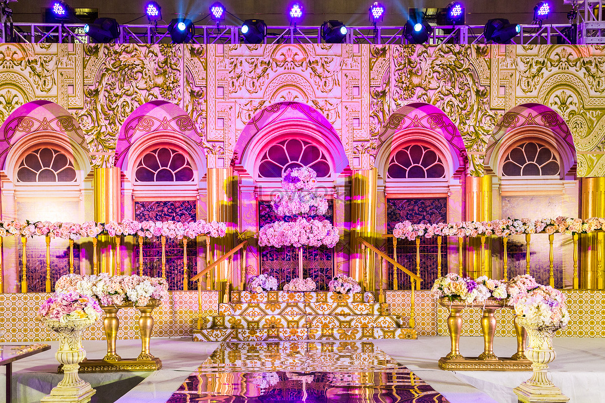 The Golden Palace Is The Wedding Background Wall Photo Image Picture