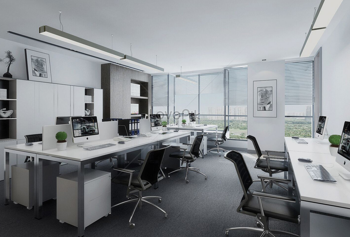 Modern Minimalist Office Space Interior Design Effect Diagram Photo Image Picture Free Download