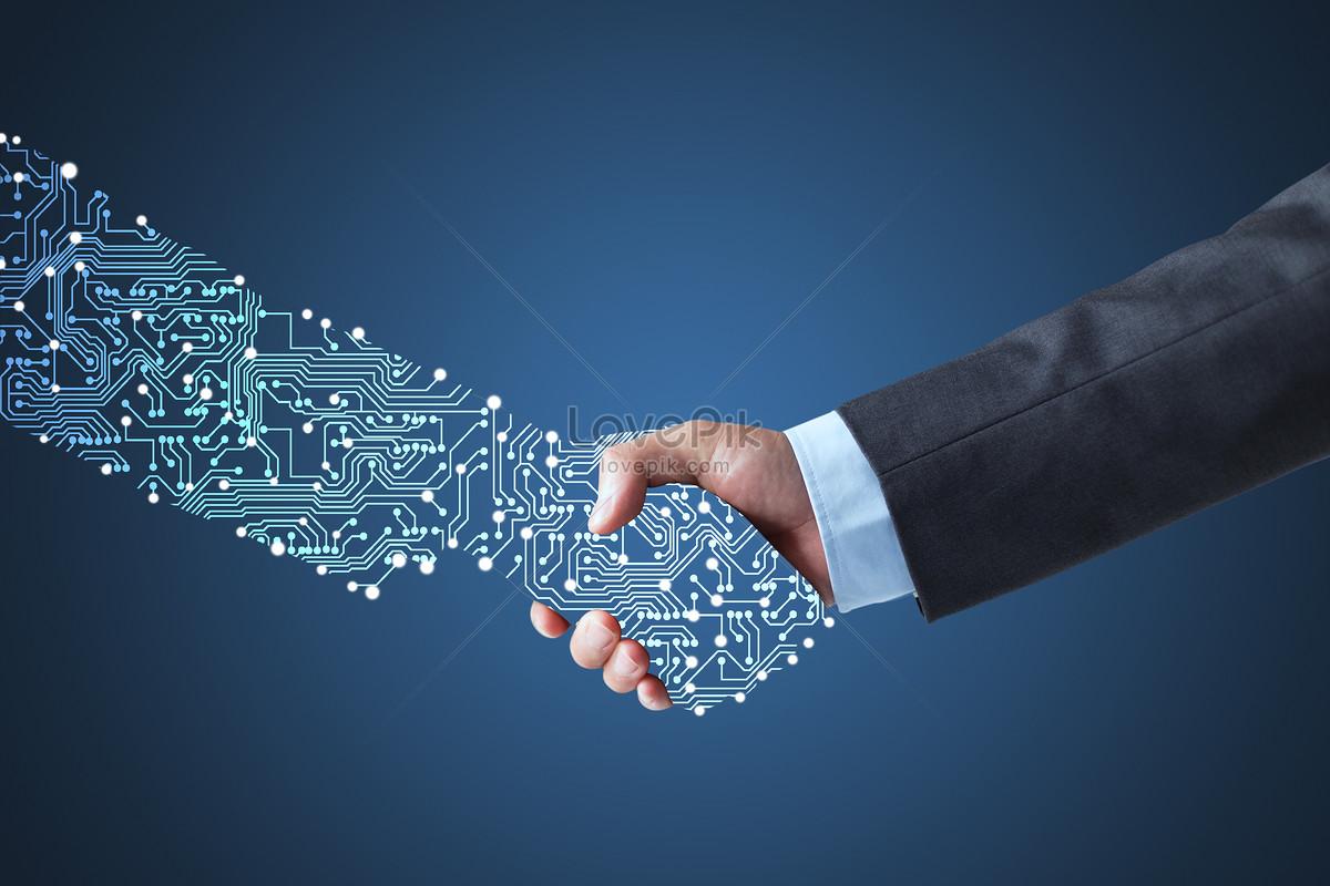 artificial intelligent handshake creative image picture
