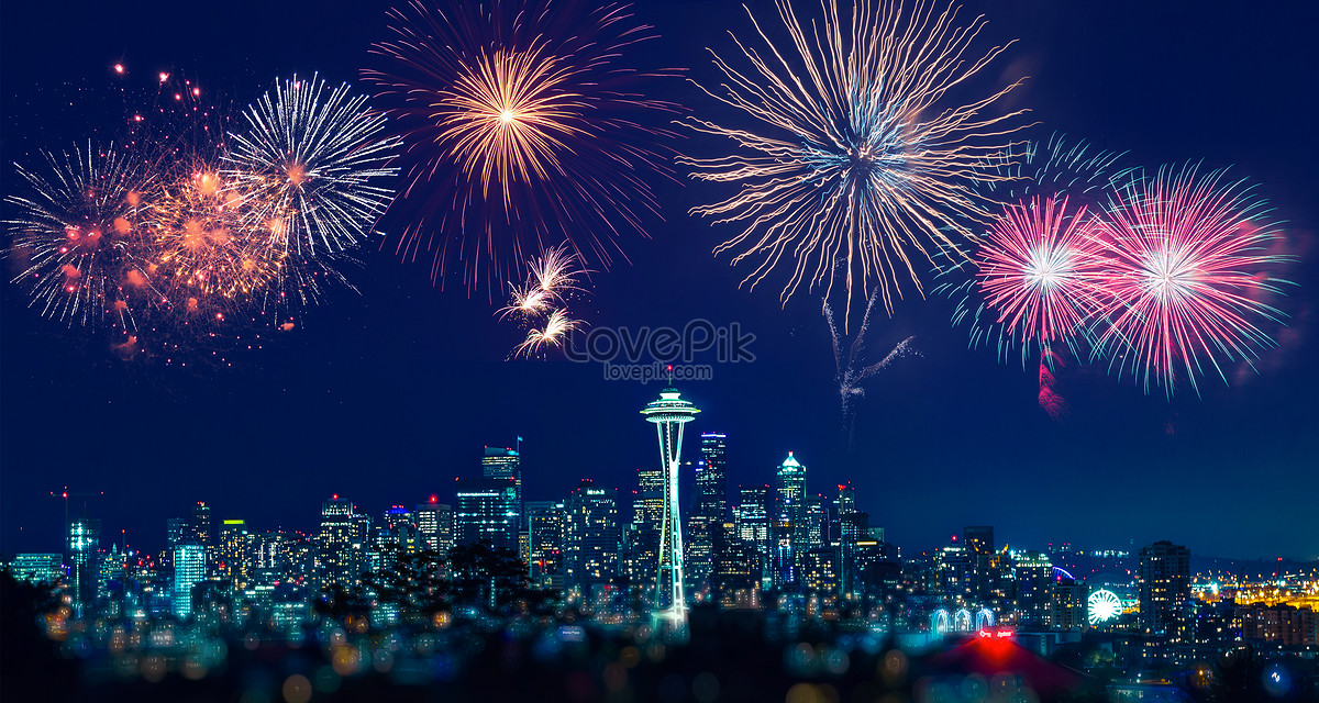 New Years City Fireworks Background Creative Image_picture