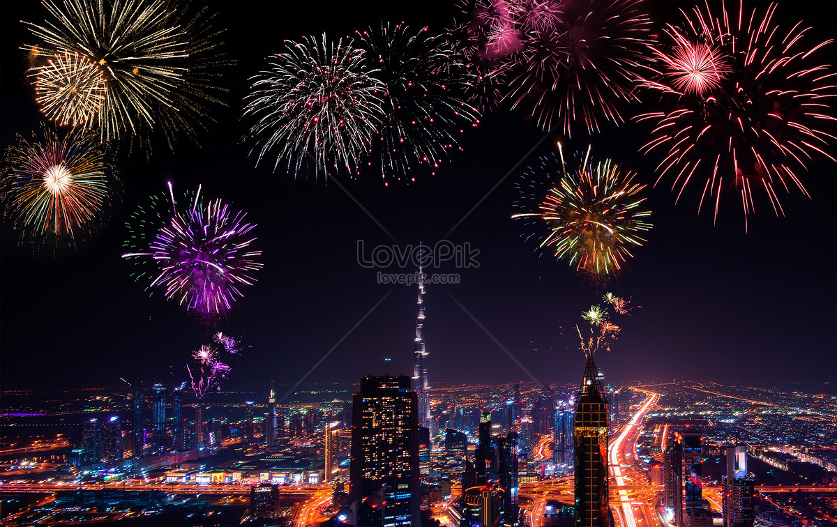 new years city fireworks background