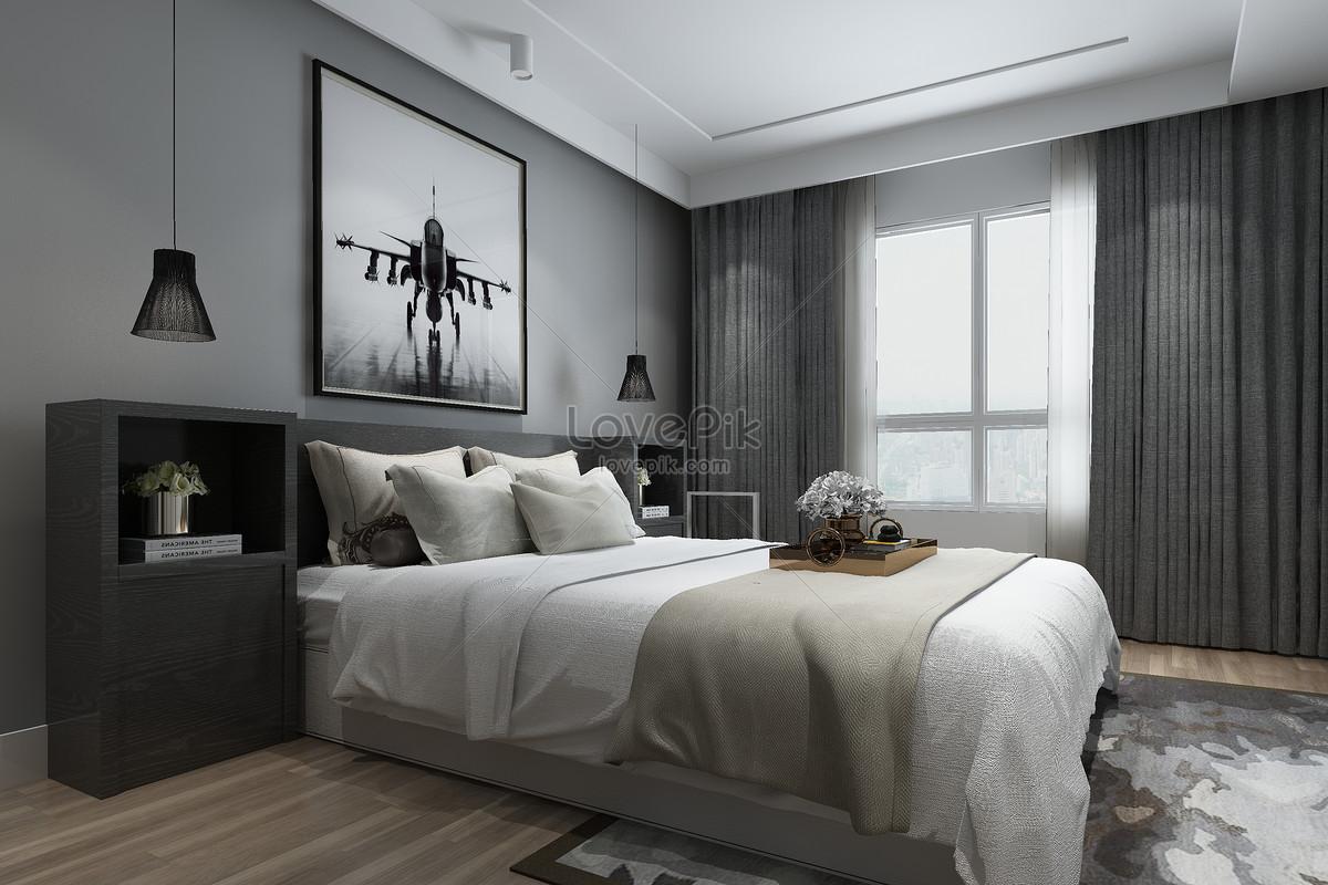 Camere Da Letto Design Minimalista : Sfondo minimalista interno camera da letto moderna immagine