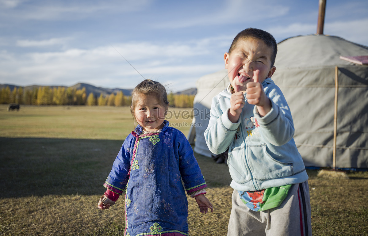 The Lovely Mongolian Children On The Prairie Photo Image Picture