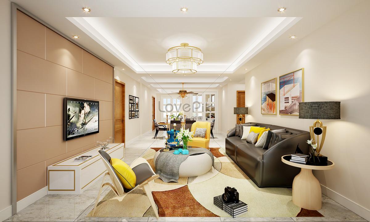 Moderne noordse stijl woonkamer interieurontwerp renderings gratis
