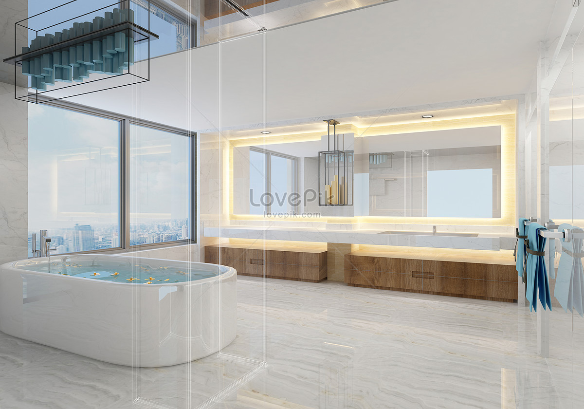 Photo de grande salle de bain moderne_Numéro de l ...