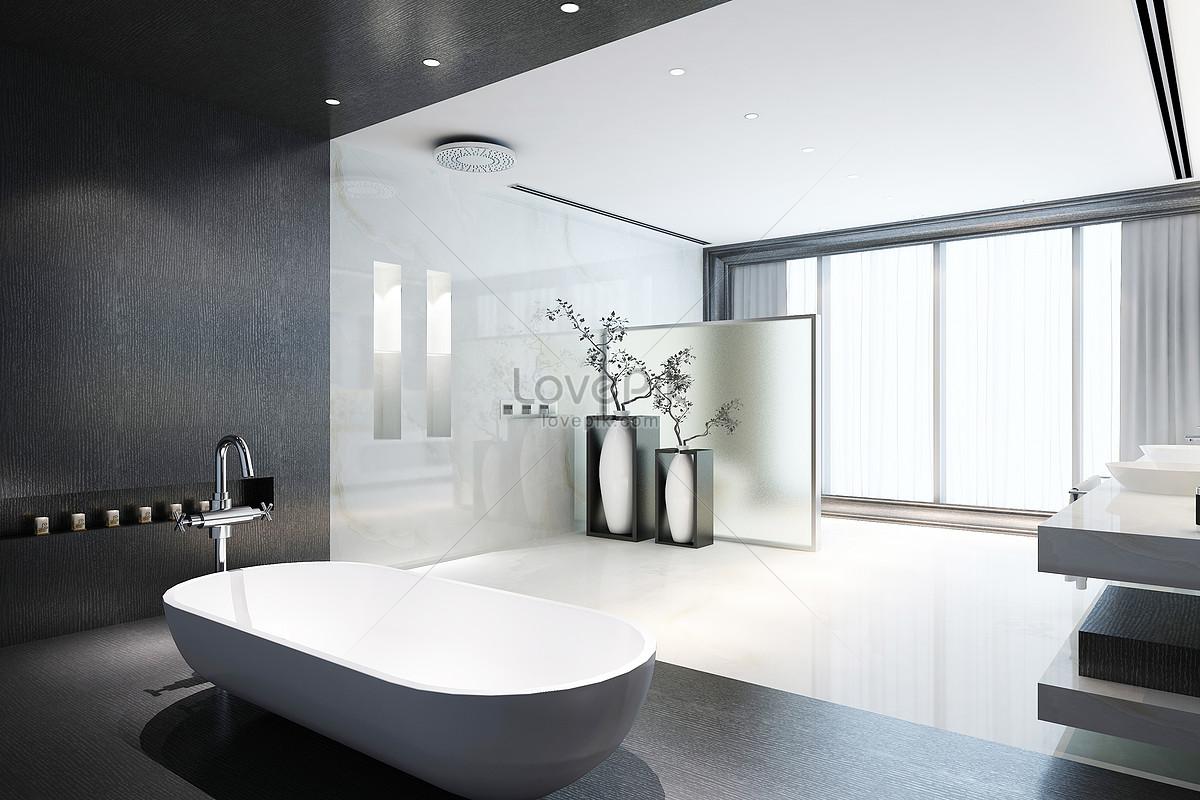 Photo de rendus modernes de salle de bains gris noir et blanc_Numéro ...